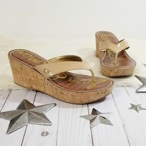 Sam Edelman Romy sandals nude wedge platforms 10